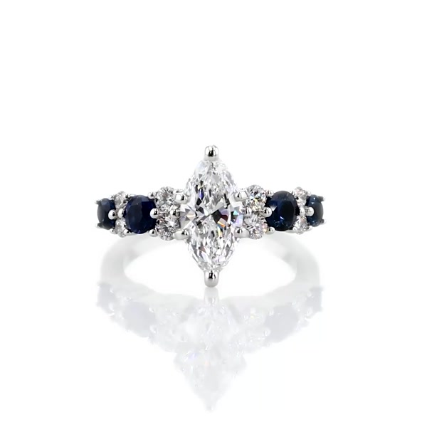 0,9 Carat Garland Sapphire and Diamond Engagement Ring