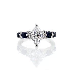 Garland Sapphire and Diamond Engagement Ring in Platinum