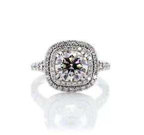 Bague de fiançailles double halo de diamants forme coussin en or blanc 18carats (1/2carat, poids total)