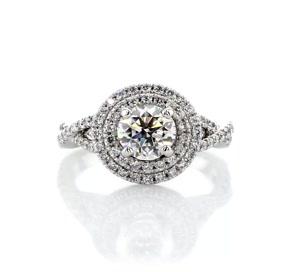 鉑金 Monique Lhuillier 雙光環鑽石扭結訂婚戒指(3/8 克拉總重量)