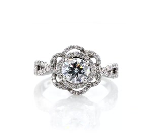 ZAC Zac Posen Open Lace Floral Twist Diamond Engagement Ring in 14k White Gold (3/8 ct. tw.)