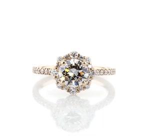 14k 黃金圓弧曲線鑽石光環訂婚戒指(1/3 克拉總重量)