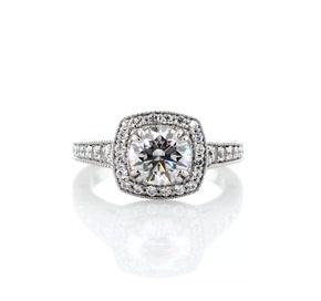 Blue Nile Studio Victorian Halo Diamond Engagement Ring in Platinum