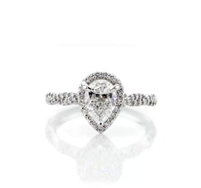 Twisted Band Halo Diamond Engagement Ring in Platinum (1/3 ct. tw.)