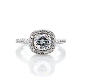 14k 白金墊形滾轉鑽石光環訂婚戒指(3/8 克拉總重量)
