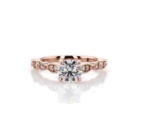 14k 玫瑰金大教堂鋸狀欖尖形及圓點鑽石訂婚戒指(1/5 克拉總重量)