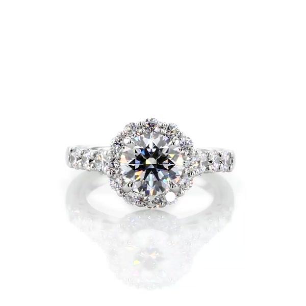 1.19 克拉皇冠光环钻石订婚戒指