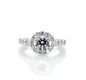 Royal Crown Halo Diamond Engagement Ring in Platinum