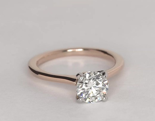 petite solitaire engagement ring in 14k rose gold - Wedding Ring Rose Gold