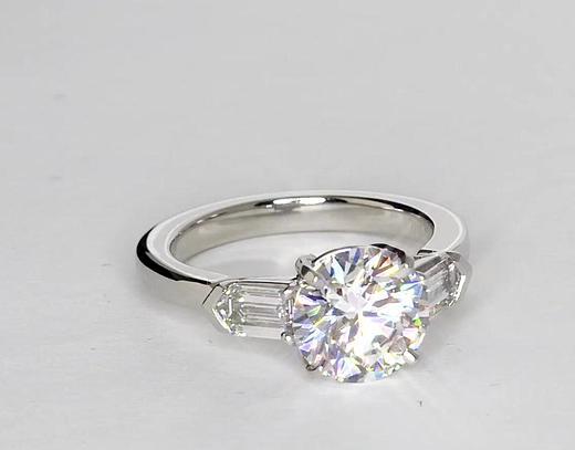 2.04 Carat Diamond Tapered Bullet Diamond Engagement Ring ...