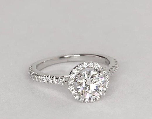 0.9 Carat Floating Halo Diamond Engagement Ring