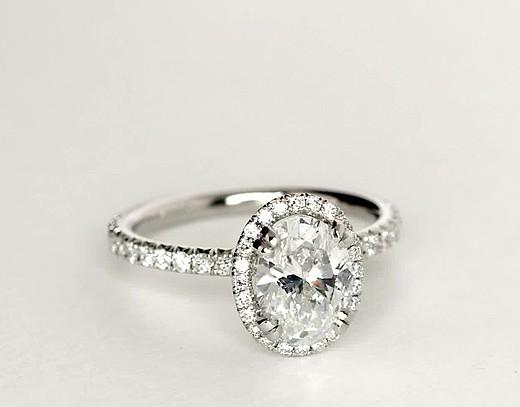 Blue Nile Studio Oval Cut Heiress Halo Diamond Engagement Ring in Platinum (1/2 ct. tw.)