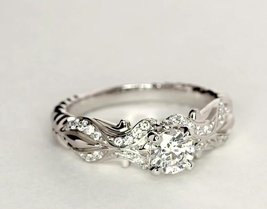 Anillo de compromiso de diamantes eiros® Tendril en oro blanco de 14 k