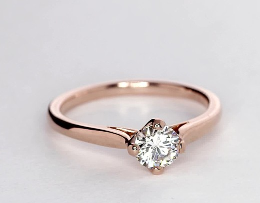 East-West Solitaire Engagement Ring in 14k Rose Gold