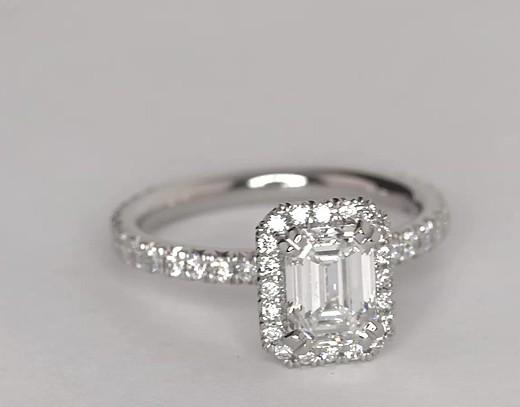 Préférence Bague de fiançailles halo de diamants taille émeraude héritière  AB98