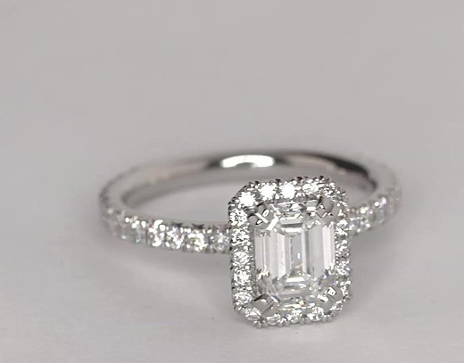Blue Nile Studio Emerald Cut Heiress Halo Diamond Engagement Ring In Platinum 1 2 Ct