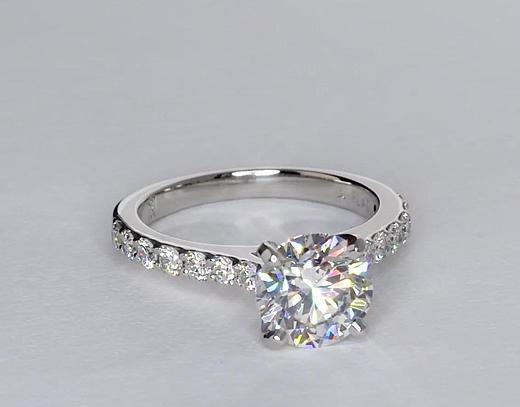 1,81 carat Bague de fiançailles cathédrale en diamants sertis pavé