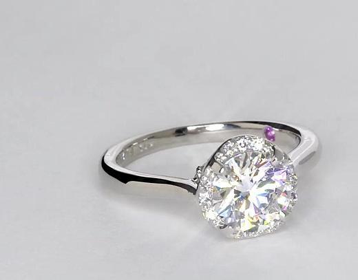 1.3 Carat Monique Lhuillier Draping Halo Diamond Engagement Ring