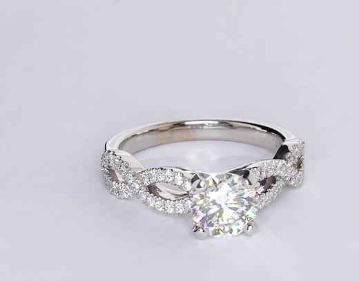 1.15 Carat Infinity Twist Micropavé Diamond Engagement Ring