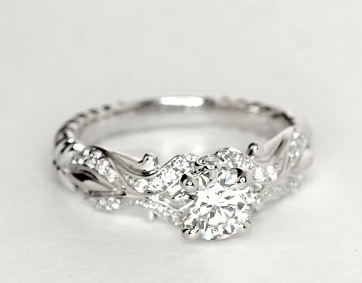 eiros® Tendril Diamond Engagement Ring in 14k White Gold