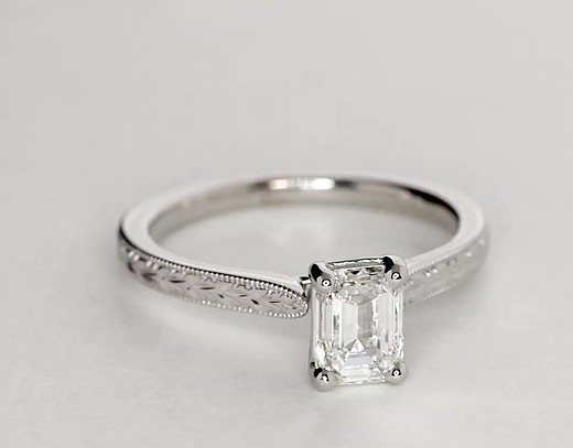 Hand-Engraved Solitaire Engagement Ring in 14k White Gold