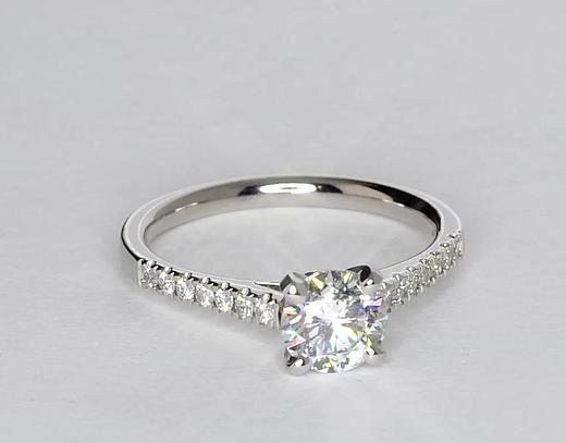 071 Carat Diamond Petite Cathedral Pave Diamond Engagement Ring
