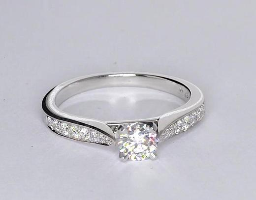 0.58 Carat Cathedral Pavé Diamond Engagement Ring