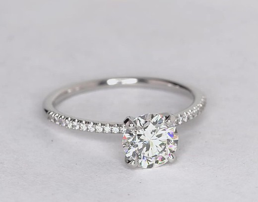 1.46 Carat Petite Micropavé Diamond Engagement Ring