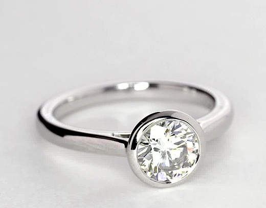 Bezel Set Solitaire Engagement Ring in Platinum