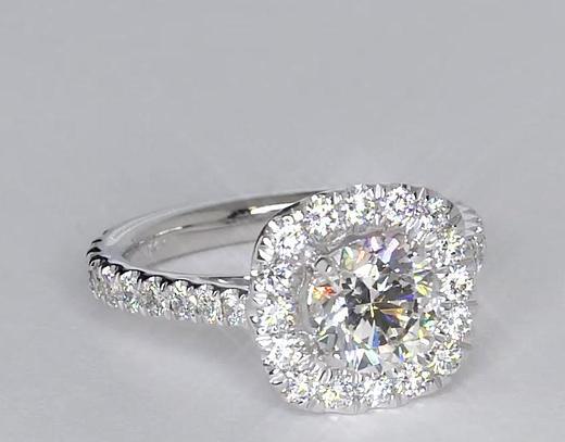 1.01 Carat Square Halo Diamond Engagement Ring