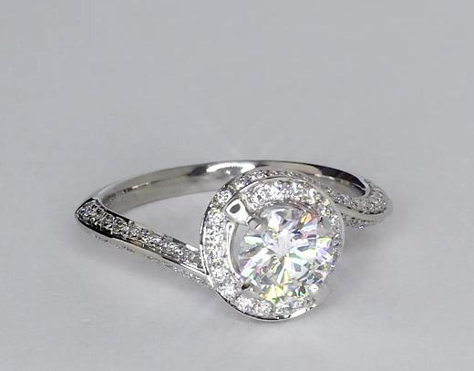 0.96 Carat Halo Pavé Diamond Engagement Ring