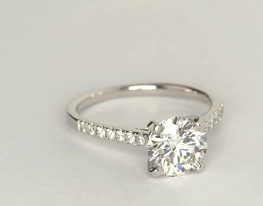 Petite Cathedral Pavé Diamond Engagement Ring in 14k White Gold (1/6 ct. tw.)