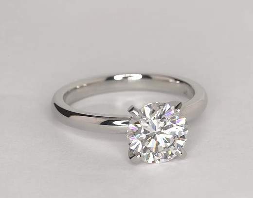 Classic Comfort Fit Solitaire Engagement Ring In Platinum