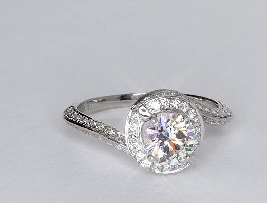 1.01 Carat Halo Pavé Diamond Engagement Ring