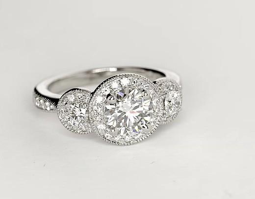 Three Stone Milgrain Halo Diamond Engagement Ring in 14k White Gold (1/2 ct. tw.)