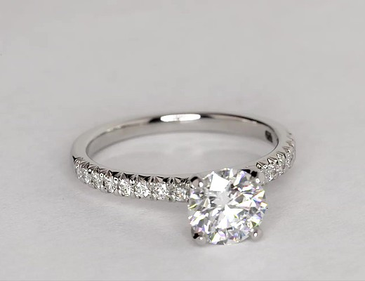 1.4 Carat French Pavé Diamond Engagement Ring