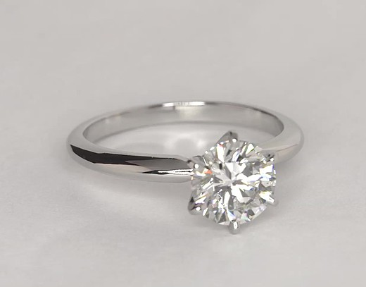 Classic Six-Claw Solitaire Engagement Ring in Platinum