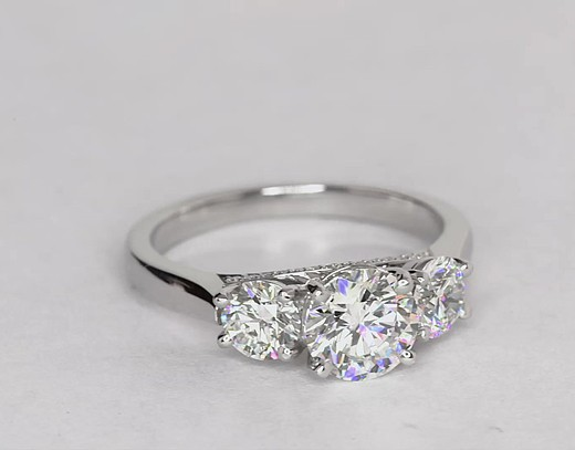 1.25 Carat Three-Stone Pavé Gallery Diamond Engagement Ring