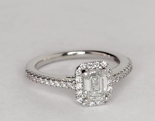 0.64 Carat Emerald Cut Halo Diamond Engagement Ring