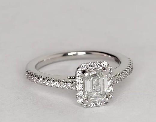 Préférence Bague de fiançailles halo de diamants taille émeraude en or blanc  AB98