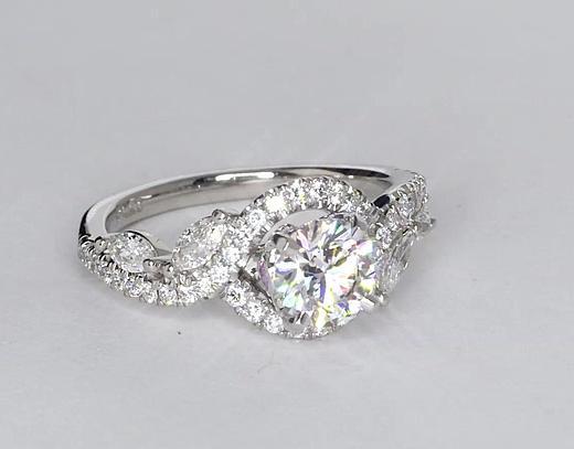 1,04 carat Bague de fiançailles diamant floral Monique Lhuillier