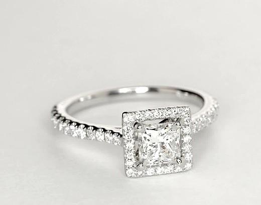 Bague de fiançailles halo flottant de trois diamants taille princesse en or blanc 14carats (1/5carat, poids total)