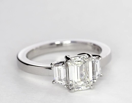 Step Cut Trapezoid Diamond Engagement Ring In Platinum 1