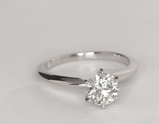Classic Six-Claw Solitaire Engagement Ring in 18k White Gold