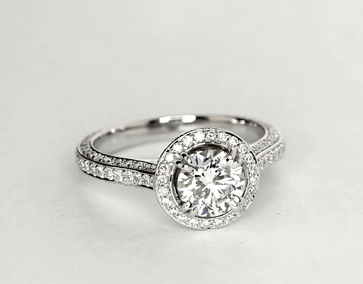 Heirloom Halo Micropavé Diamond Engagement Ring in Platinum (5/8 ct. tw.)