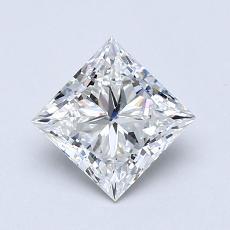 所選擇的鑽石: 1.01  克拉公主方形鑽石