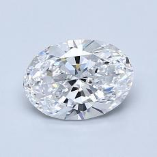 1.00 Carat 椭圆形 Diamond 非常好 D VVS1