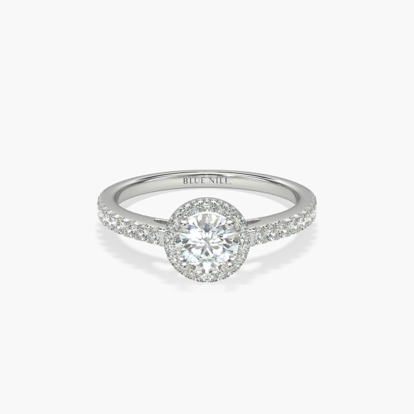 1/2 Carat Ready-to-Ship Classic Halo Diamond Engagement Ring in Platinum