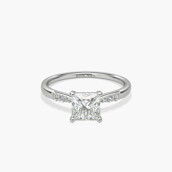 1 克拉 14k 白金公主方形切割小巧鑽石訂婚戒指,現貨供應