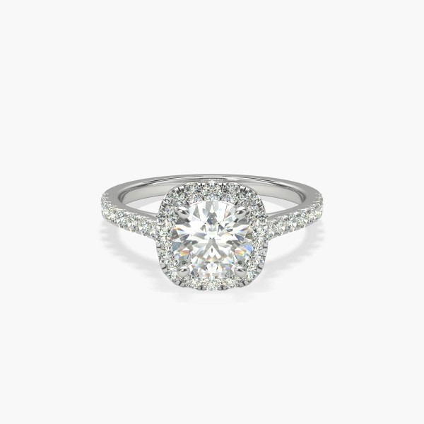 1 Carat Ready-to-Ship Cushion Halo Diamond Engagement Ring in Platinum